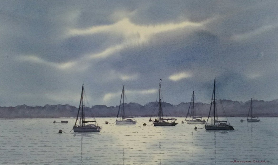 Anthony Osler Yachts In Moonlight 17x23 285