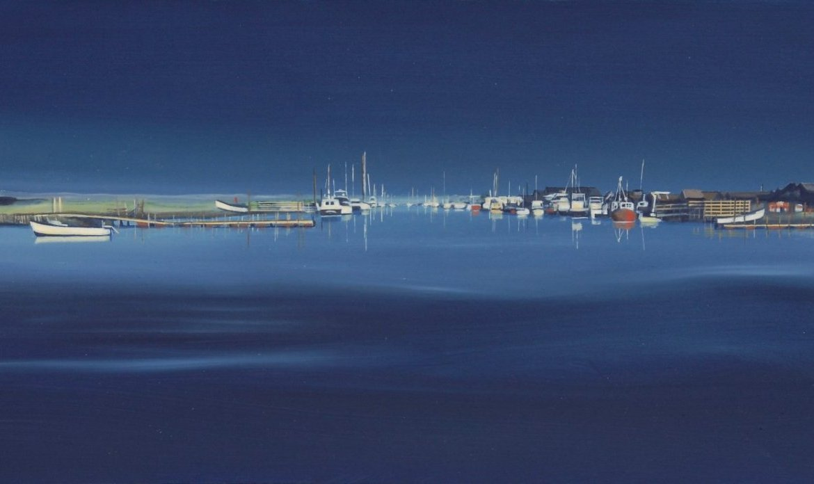 K. FELTON Harbourscape 5 Southwold Walberswick First Light 50x25cm Oil On Panel