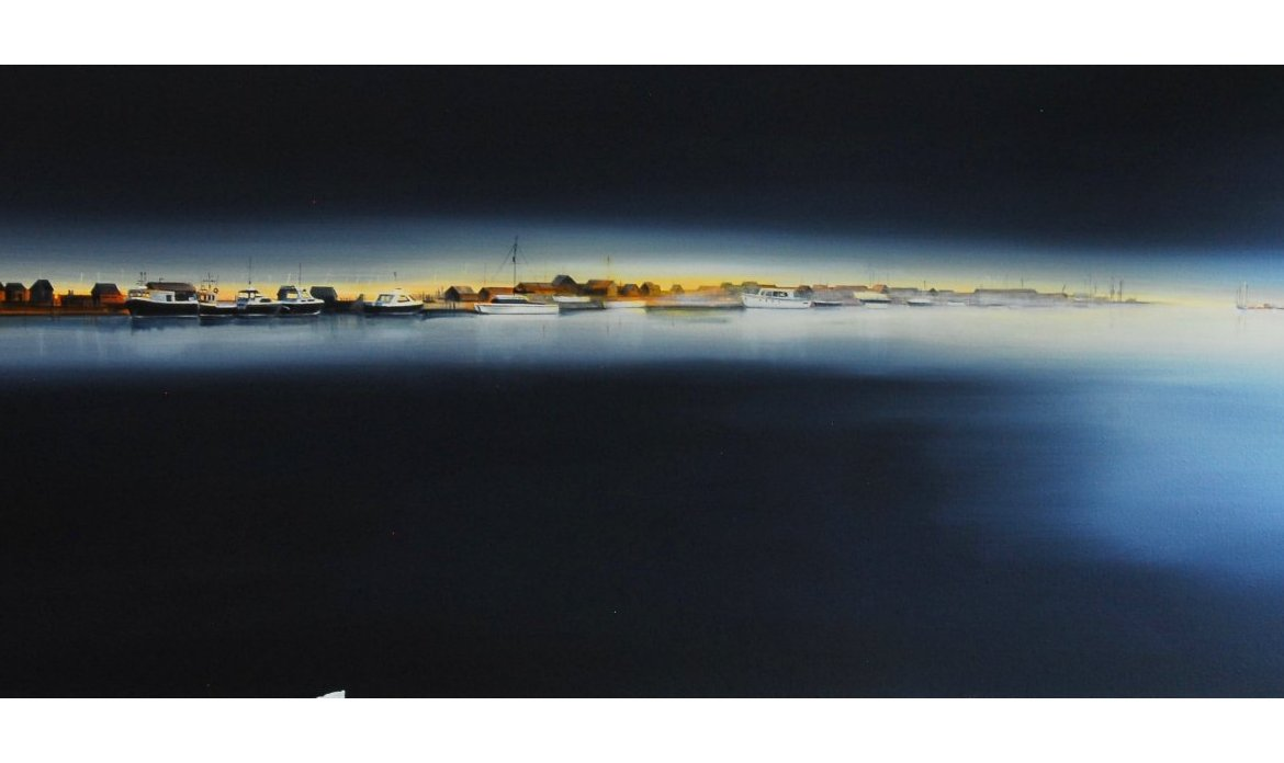 KATE FELTON HALL HARBOURSCAPE SERIES 7 Southwold Freezing Morning Mist At First Light 39x16 950