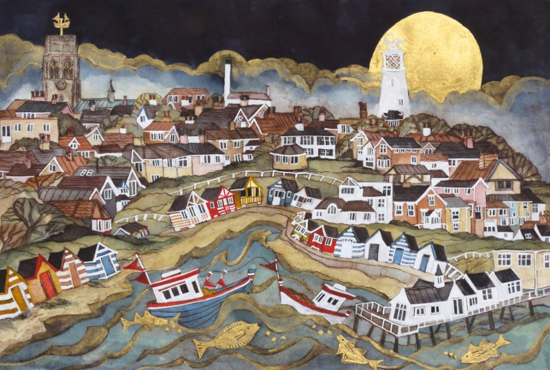 With Golden Fish They Rolled Past Hut And Home Coloured Bright Southwold 30x23 295 800x538