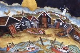 All Was Quiet Along Harbours Edge Yet Gulls Dd Soar With The Sinking Moon Southwold 28x25 285
